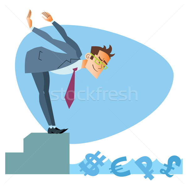 Businessman swimmer pool money business sports competition Stock photo © studiostoks