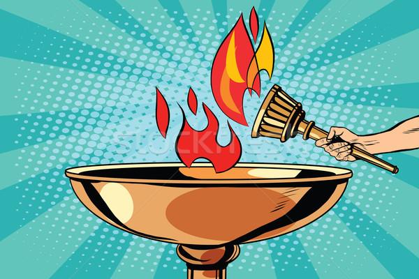 огня факел чаши Поп-арт ретро-стиле антикварная Сток-фото © studiostoks