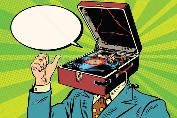 Retro lover music man gramophone phonograph Stock photo © studiostoks
