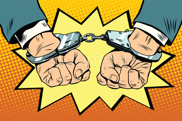 Letartóztatás kezek pop art retro vektor bűnözés Stock fotó © studiostoks