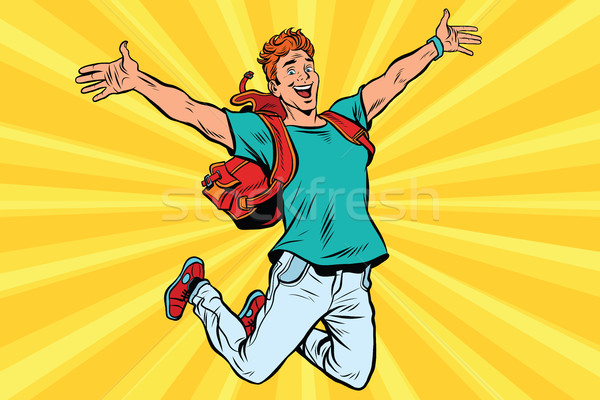 Young man jumping for joy Stock photo © studiostoks