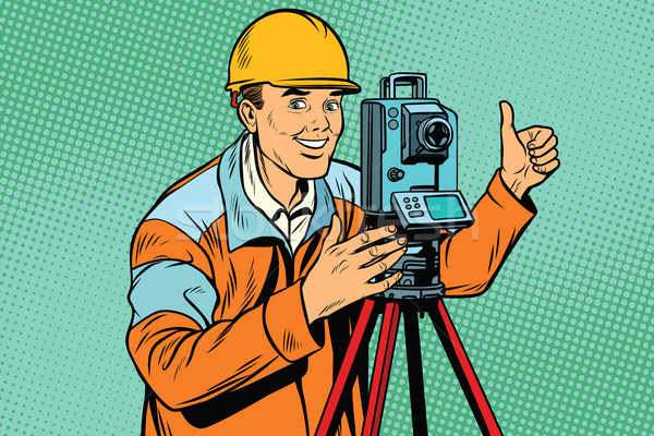 Builder surveyor with a theodolite optical instrument for measur Stock photo © studiostoks