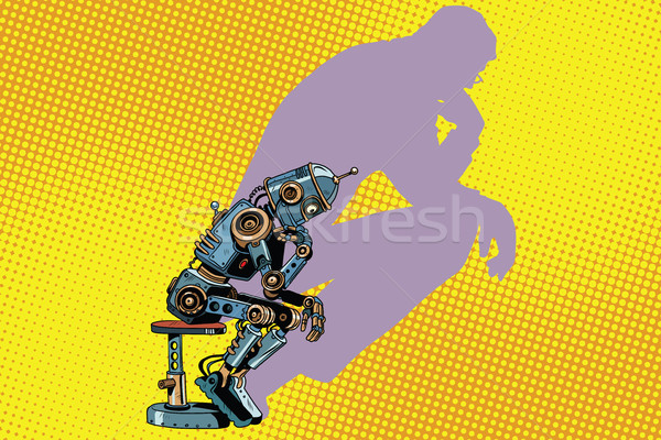 Robot thinker with the shadow of a man Stock photo © studiostoks