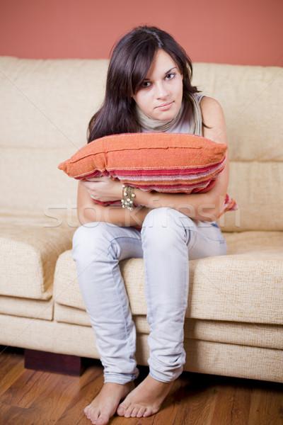 красивой красивая девушка портрет сидят диван Сток-фото © Studiotrebuchet