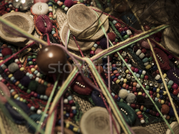 hand made art craft made with beads and objets Stock photo © Studiotrebuchet
