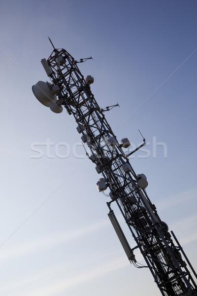 Comunicação antena imagem móvel internet blue sky Foto stock © Studiotrebuchet