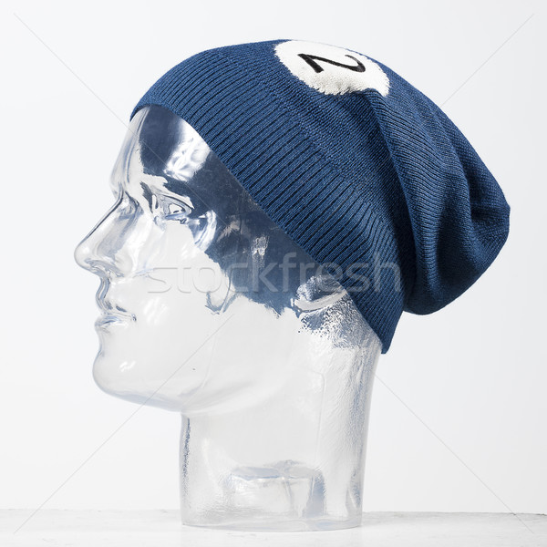 blue woolen handmade cap basketball ball alike Stock photo © Studiotrebuchet