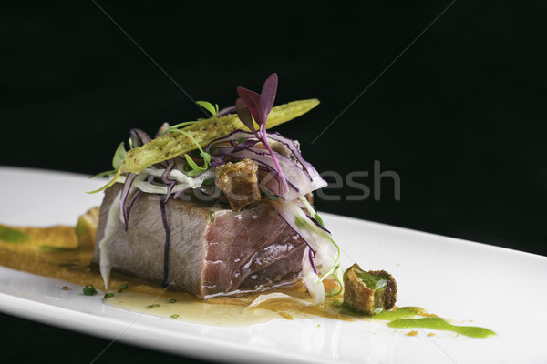 tataki tuna and pork with vegetables Stock photo © Studiotrebuchet