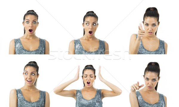 multi image real young woman expressions Stock photo © Studiotrebuchet
