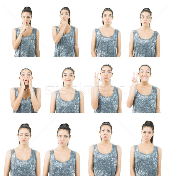 cute young woman in different expression collage Stock photo © Studiotrebuchet