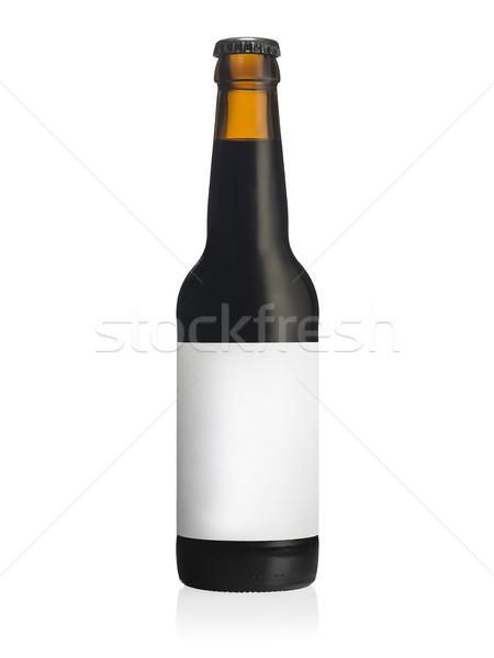 üveg fekete sör címke copy space finom Stock fotó © Studiotrebuchet