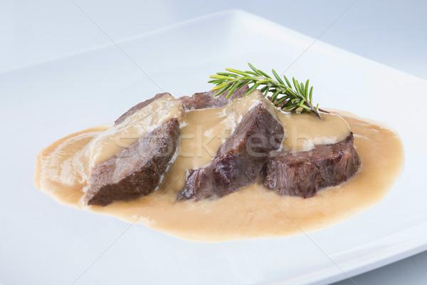 Spezzatino carne guance vino salsa spagnolo Foto d'archivio © Studiotrebuchet