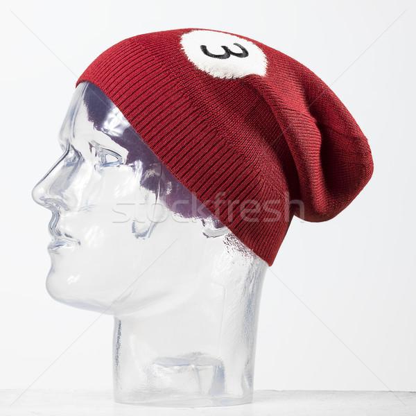 red woolen handmade cap basketball ball alike Stock photo © Studiotrebuchet