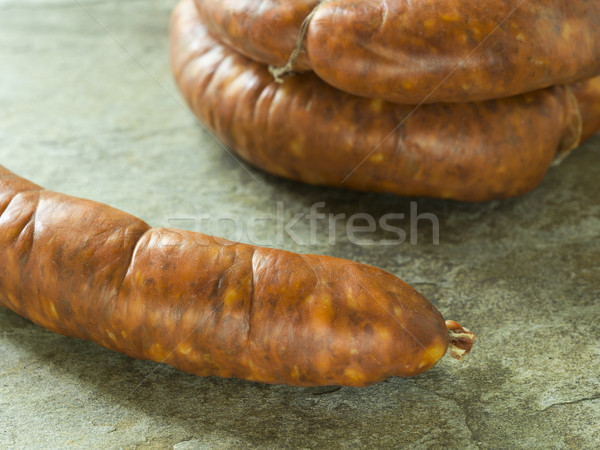pork sausages or chorizo Stock photo © Studiotrebuchet