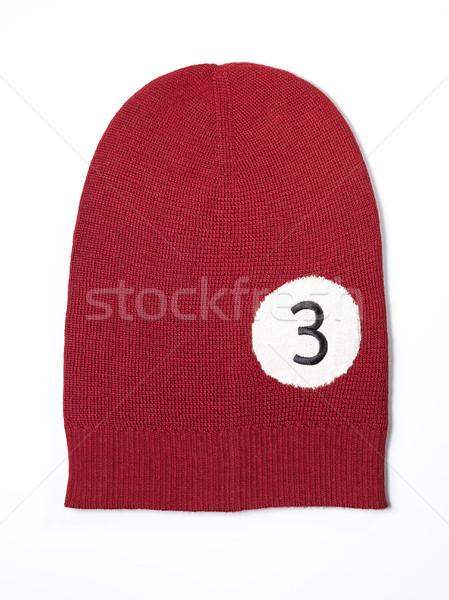 Rood wollen handgemaakt cap basketbal bal Stockfoto © Studiotrebuchet