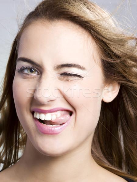Kadın dostça genç kadın komik yüz Stok fotoğraf © Studiotrebuchet