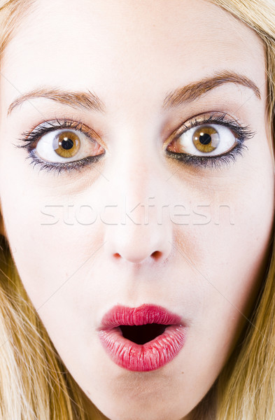 Stock fotó: Meglepődött · lány · portré · kifejező · fiatal · lány · szemek