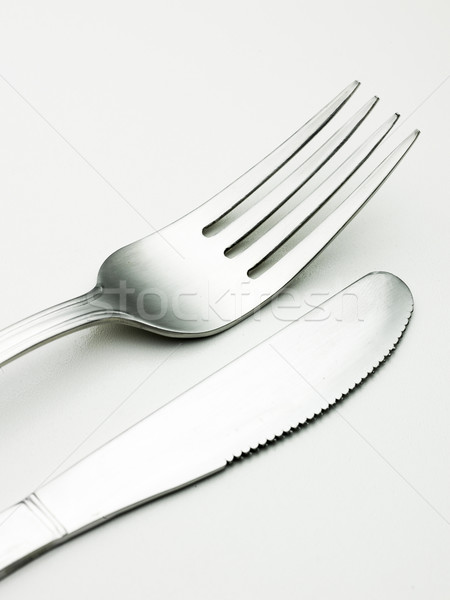 Zilver artistiek manier tabel mes vork Stockfoto © Studiotrebuchet