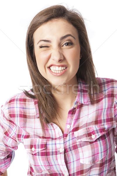 portrait of a beautiful young short haired woman Stock photo © Studiotrebuchet