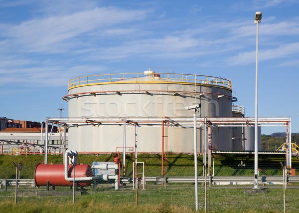 Yağ tank rafineri benzin mavi gökyüzü Stok fotoğraf © Studiotrebuchet