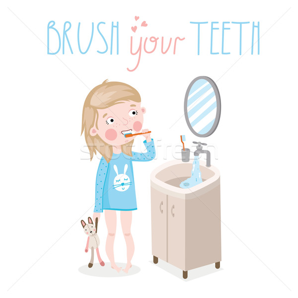Little girl brushing teeth Stock photo © studioworkstock