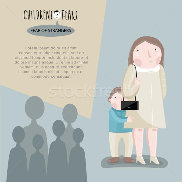 Childrens fears. Vector illustration. Stock photo © studioworkstock