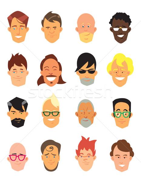 Adam avatar simgeler güler yüz vektör Stok fotoğraf © studioworkstock