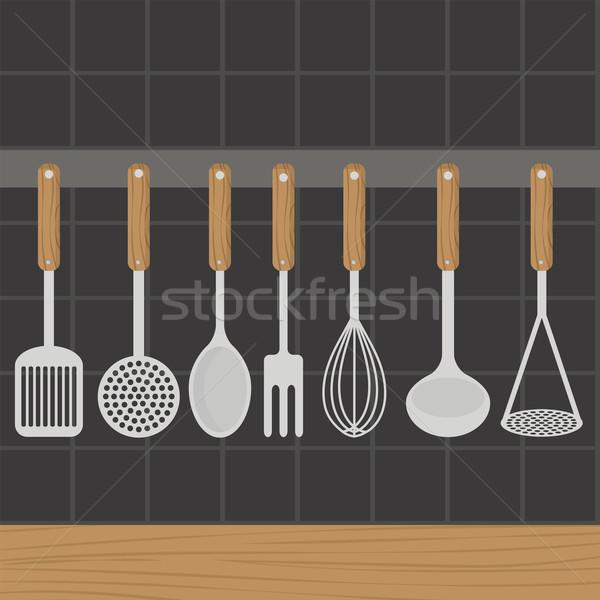 Сток-фото: кухне · стены · фон · вилка · приготовления