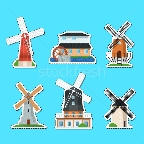 Traditional old windmill buildings isolated labels Stock photo © studioworkstock