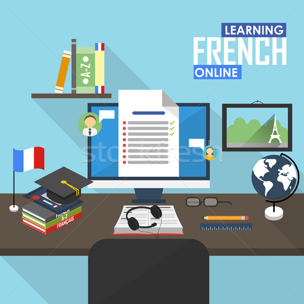 E-learning French language. Stock photo © studioworkstock
