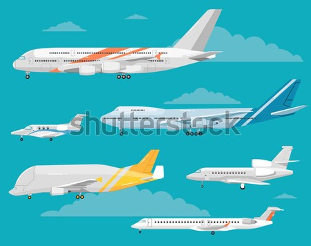 Up in the sky poster with propeller airplane Stock photo © studioworkstock