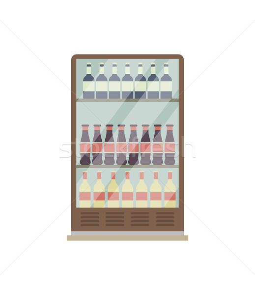Supermarket showcase refrigerator isolated icon Stock photo © studioworkstock