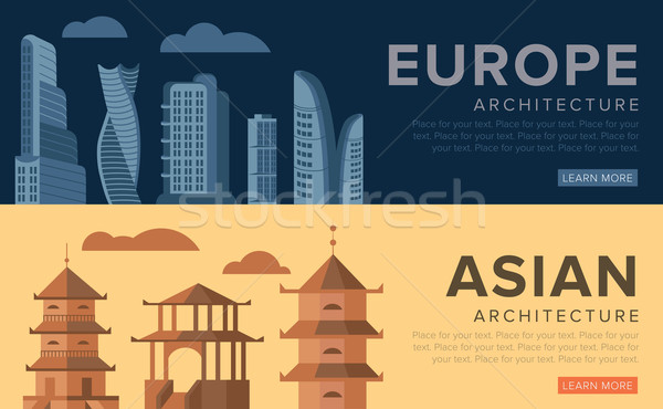 Traditional and modern architecture Stock photo © studioworkstock