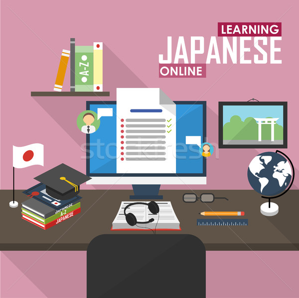 E-learning Japanese language. Stock photo © studioworkstock