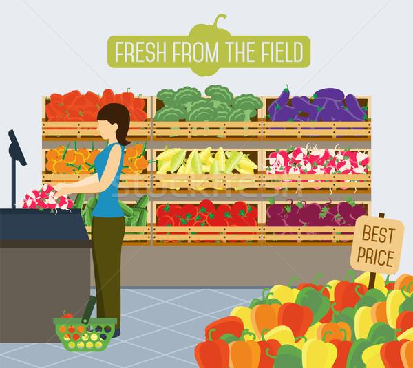 Foto d'archivio: Supermercato · verdura · frutta · verde · store
