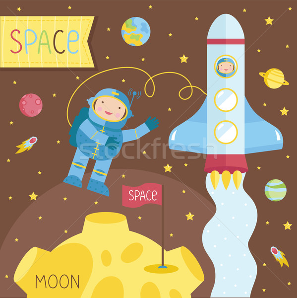 Cartoon illustrazione spazio set oggetto abstract Foto d'archivio © studioworkstock