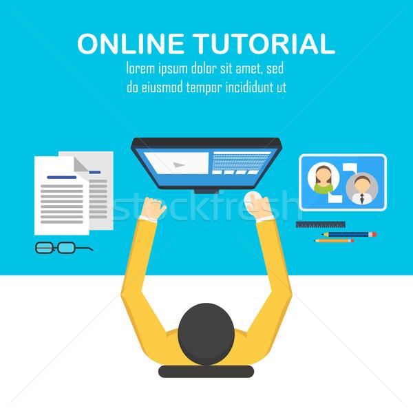 Dizayn kavramlar çevrimiçi öğrenme mesafe Stok fotoğraf © studioworkstock