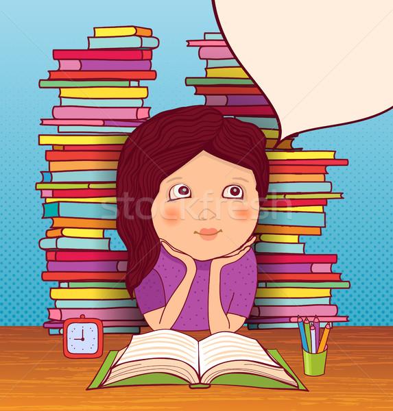 Nina deberes sueños lecciones libros nina Foto stock © studioworkstock