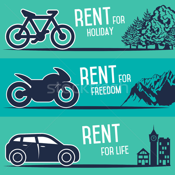 Rental car and other transport banners. Stock photo © studioworkstock