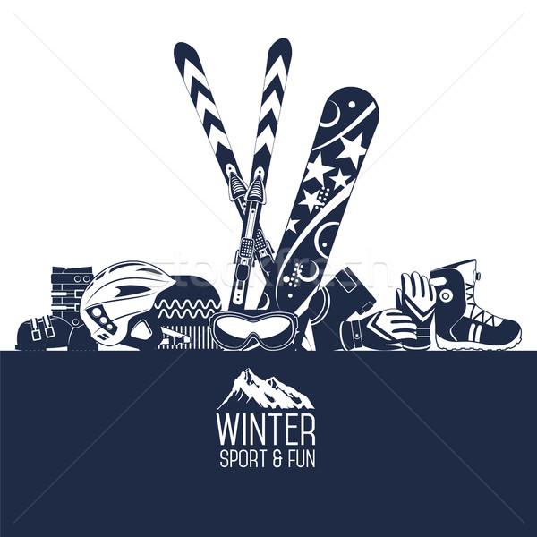 Ski extrême hiver sport ski équipement Photo stock © studioworkstock