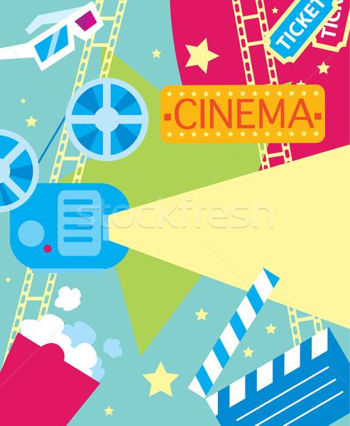 Streszczenie kina plakat film projektu wektora Zdjęcia stock © studioworkstock