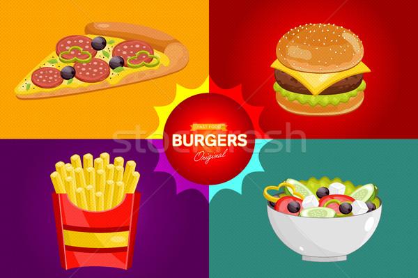 Fast food menu sjabloon fastfood restaurant communie pizza Stockfoto © studioworkstock