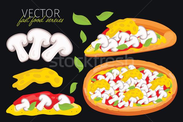 Isolated vector mushrooms pizza. Fast food set. Stock photo © studioworkstock
