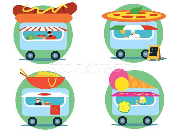 Fast food klein verkopen ijs ingesteld hot Stockfoto © studioworkstock