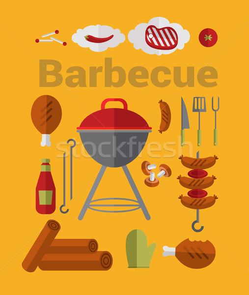 アイコン バーベキューグリル ビッグ セット ベクトル 食品 ストックフォト © studioworkstock