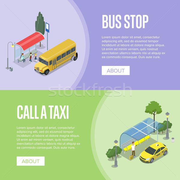 Taxi and school bus station isometric 3D posters Stock photo © studioworkstock