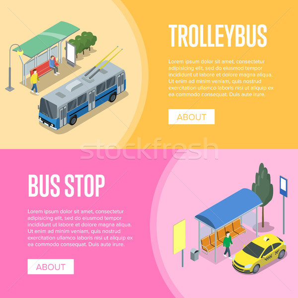 Trolleybus and bus station isometric 3D posters Stock photo © studioworkstock