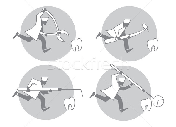 Dentist runs for a tooth. Stock photo © studioworkstock