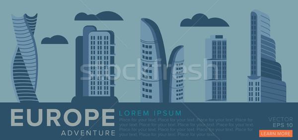 Utazás Európa modern építészet példa felhőkarcolók ház Stock fotó © studioworkstock