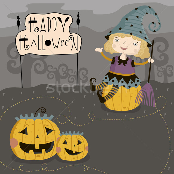 Little girl sits on pumpkin. Stock photo © studioworkstock